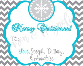 Grey and Teal Snowflake Christmas Gift Tags