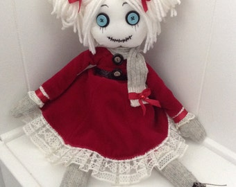 Candy OOAK Ragdoll 18''Ice skating goth tattered cloth soft art doll Collection handstitched signed and numbered