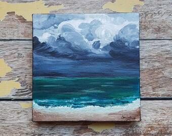 "Seascape Canvas Art | Coastal Painting | Ocean Art | Beach Decor | 6x6 | ""Tempest"" | Saltons Cove Studio"
