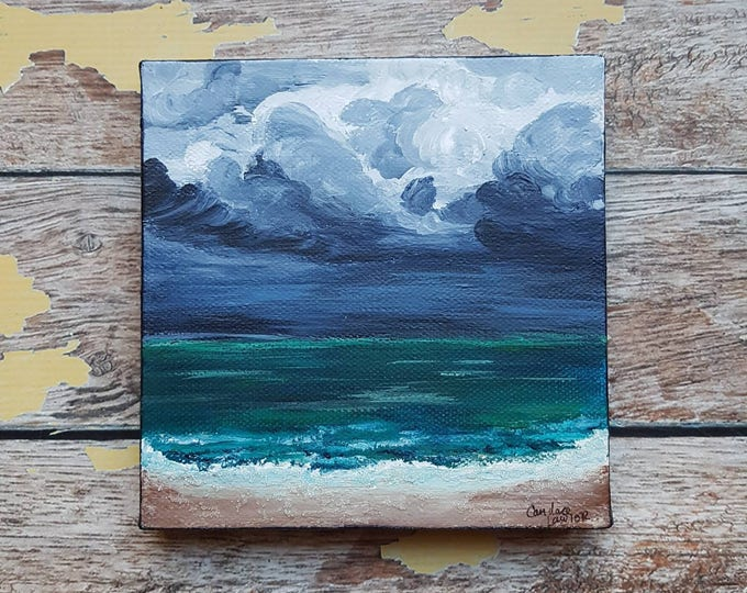 "Seascape Canvas Art | Coastal Painting | Ocean Art | Beach Decor | 6x6 | ""Tempest"" 