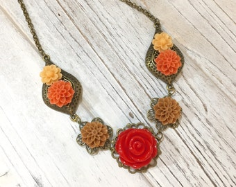 Fall Necklace, Autumn Flower Necklace, Flower Statement Necklace, Red Rose Necklace, Orange Brown Mum Necklace, KreatedbyKelly