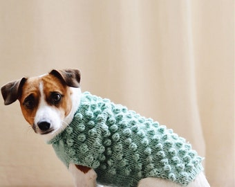 Knit dog sweater, Dog clothes, Dog sweatshirt, Bubble dog sweater, Sweater dog, Sweater for jack russell terrier, Small dog sweater