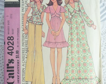 1970's McCalls 4028 Sewing Pattern- Misses Dress Maxi Dress and Top  Size 8 Bust 31.5