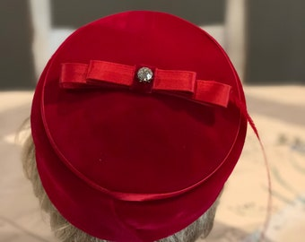 Vintage Red Hat with Feather and Rhinestone