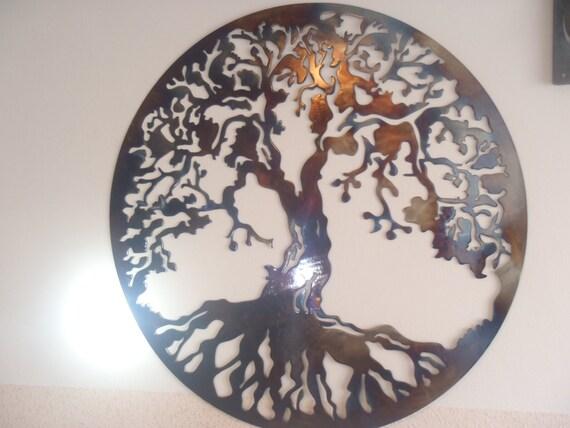 Tree Of Life Metal Wall decor Metal Art HEAT COLORED