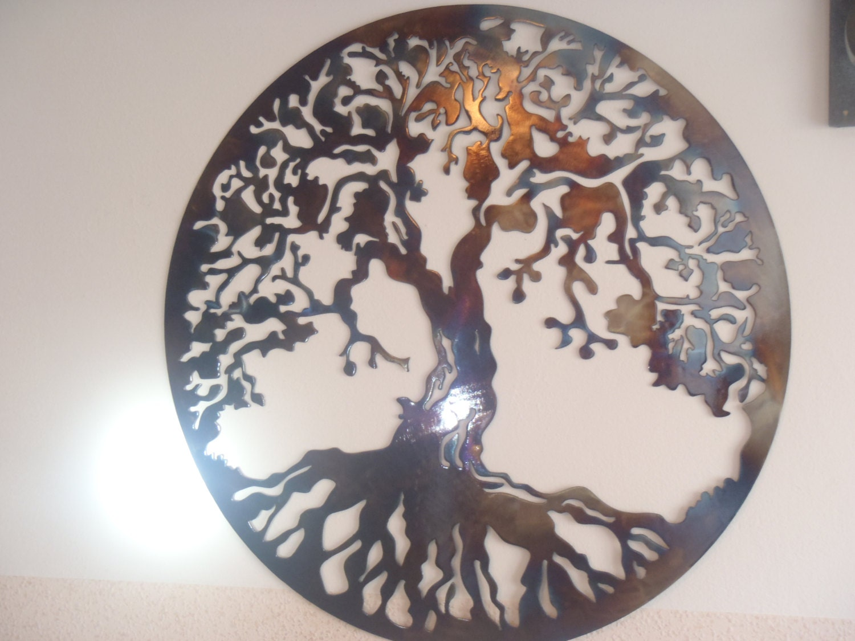 l 39 arbre de vie d coration murale en m tal 70 cm dans. Black Bedroom Furniture Sets. Home Design Ideas