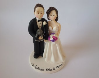custom bride and  groom with rabbit wedding cake topper
