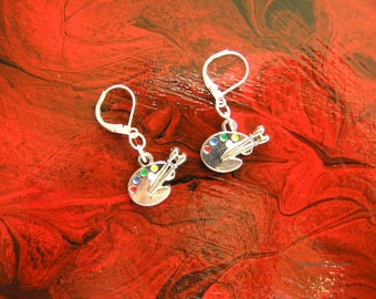 Painters Palette Artist earrings, artist gift, art teacher gift, silver tone fashion jewellery gift idea 10, GBT341