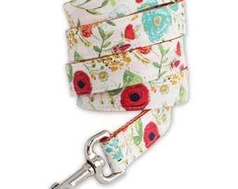 Floral Dog Leash - White Floral Dog Leash -Rose Dog Leash - Dog Lead - Red Flower Dog Leash - Lola Dog Leash - fabric leash