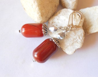 Dark Orange Agate Leverback Earrings Autumn Fall Jewelry Thanksgiving October November Birthday Gift Casual One of a Kind Bolivian Jewelry