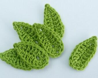 Crochet, Crochet applique, 6 medium  green crochet leaves, cardmaking, scrapbooking, appliques, handmade, sew on patches embellishments