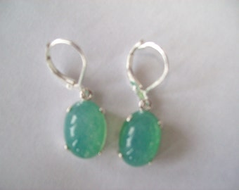 PERFECT SIZE - Blue-Green Created Opal Earrings Sterling Silver