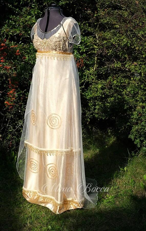 Gold Edwardian gown Titanic Dress Edwardian wedding dress