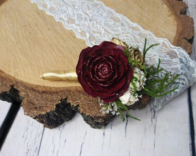 Cream brown burgundy green rustic wedding Rustic BOUTONNIERE groom groomsman, Sola Flower cedar rose dried limonium satin ribbon