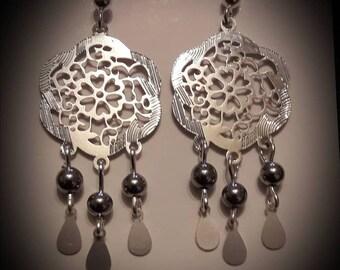 Print drop earrings 925 sterling silver