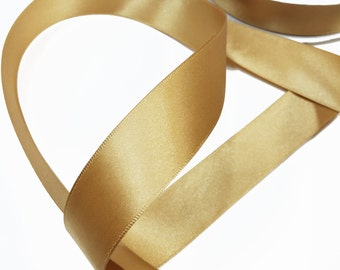 Gold Satin Ribbon Trim for scrapbook, card making, wedding decoration, gift wrapping