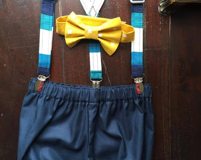 Boys First Birthday Outfit, Bow tie, Suspender, and Diaper Cover Set handmade by TwoLCreations