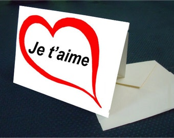 French I LOVE YOU note card with envelope