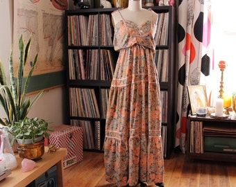 1970s hippie peasant maxi dress by Candi Jones . blouson dress with spaghetti straps . womens xs small summer dress, milkmaid tie front
