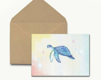 Watercolor Turtle Note Cards