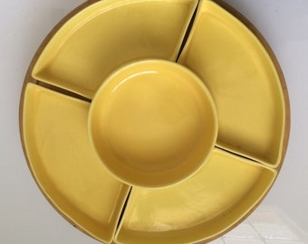 Vintage Yellow Serving/Snack Tray Set - Rotating Lazy Susan Bar & Kitchenware (6 pc)