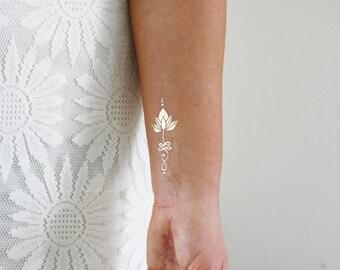 Gold unalome lotus temporary tattoo / gold temporary tattoo / lotus tattoo / boho gift / gold tattoo / festival jewelry / festival tattoo