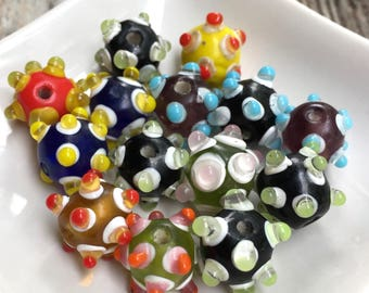 14 Fun, Multicolored, Round, Glass Beads with raised dots, 12 mm