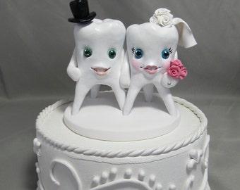 Custom Made Clay Tooth Teeth Dentist Dental Dentistry Hygienist Assistant Wedding Cake Topper Sculpture Cute Fun Unique