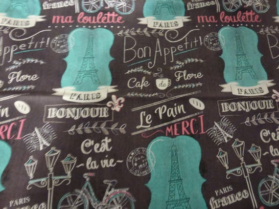 34ths yard of paris themed fabric by joanns fabrics chocolate 34ths yard of paris themed fabric by joanns fabrics chocolate background with teal and pink highlights eiffel tower paris cafe from joscreativecrafts gumiabroncs Choice Image