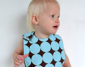 Baby Boy Bib with Minky, Reversible, Adjustable - Blue Disco Dot