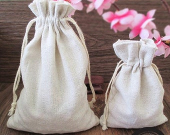 10pcs - Plain Muslin Cotton Bag with Drawstring