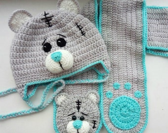 Baby Hat Pattern.Crochet Baby Hat. Hat Bear. Newborn Teddy Bear Hat. Hat for gift with Girl and Boy.Teddy Bear hat For Kids.Crochet hat