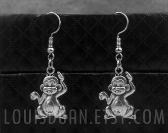 Silver Monkey Earrings -Dangle Earrings -Charm Earrings -Animal Earrings
