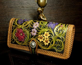 Hand-tooled women's leather wallet, hand-carved wallet, carved purse, tooled women's wallet , sheridan wallet, flower wallet, long wallet