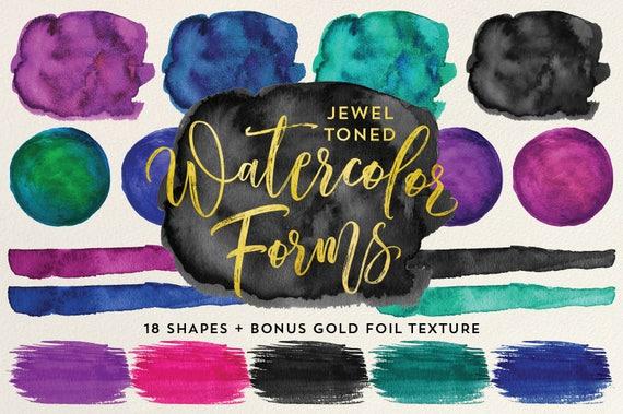 Tone and texture in art : Jewel tone watercolor forms shapes bonus gold foil texture