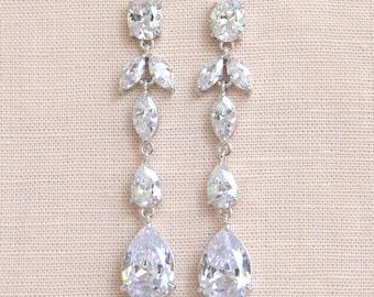 Crystal Bridal Earrings, Crystal wedding Jewelry, Long Dangle Earrings, Swarovski,  Long Bridal Earrings, Keelin Bridal Earrings