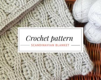 Crochet Afghan Pattern. DIY Crochet Blanket PDF Pattern. Cozy Crocheted Blanket. Scandinavian Blanket Pattern.