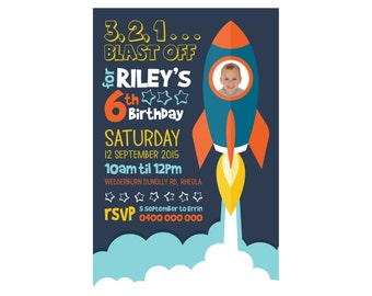 Kids Birthday ROCKET Invitation PRINTABLE