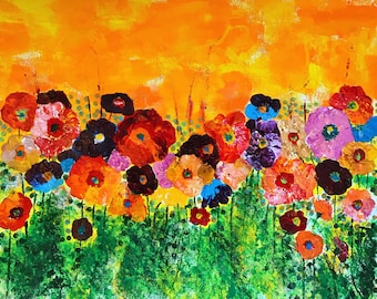 Floral Burst - ooak - 20 x 16ins (50 x 40cms) Burst into summer with flowers