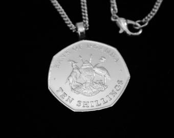 UGANDA - 1987 - 10 SHILLINGS -  Necklace (Lady's or Man's), Money Clip, Key Ring.  Cuff Links are also available for as limited time.