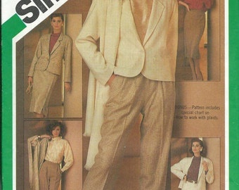 Simplicity 6525 Misses Suit Pattern, Trousers, Skirt, Fitted Jacket, Blouse and Shawl Size 10 UNCUT