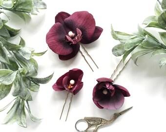 Flower Hair Pin Set , Burgundy Floral Hair Pins, Floral Headpiece, Burgundy Wedding Hair Flowers, Orchid Hair Accessory, Wedding Hair Pin