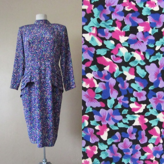 L peplum hem mandarin collar floral print long sleeve vintage 80s secretary office wear kitsch hipster dress - large L
