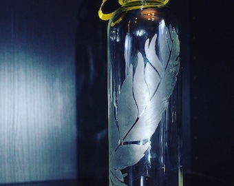 Etched Glass 18oz Water Bottle Feather Design & Custom Cap Color