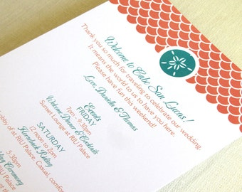 Sand Dollar Beach Wedding Itinerary Card - Welcome Bag Card - Destination Events Card - Custom Colors