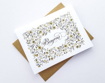 Bonjour | Blank Note Card | Hello French Greeting Card | Gold, Floral | Screenprinted | Calligraphy | Just Because, Friendship, Penpal