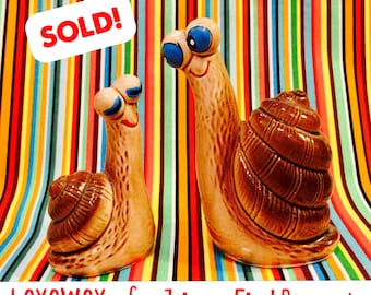 LAYAWAY for Jaime - Final Pmt - Anthropomorphic Snails in Love Salt and Pepper Shakers made in Japan circa 1950s