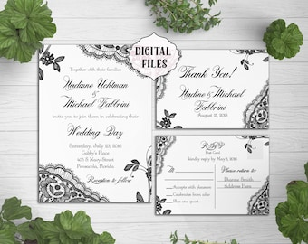 DIGITAL Lace Wedding Invitation, Black Lace wedding invite, Printable Digital file, Wedding Invitation, black Invite, response card, lace