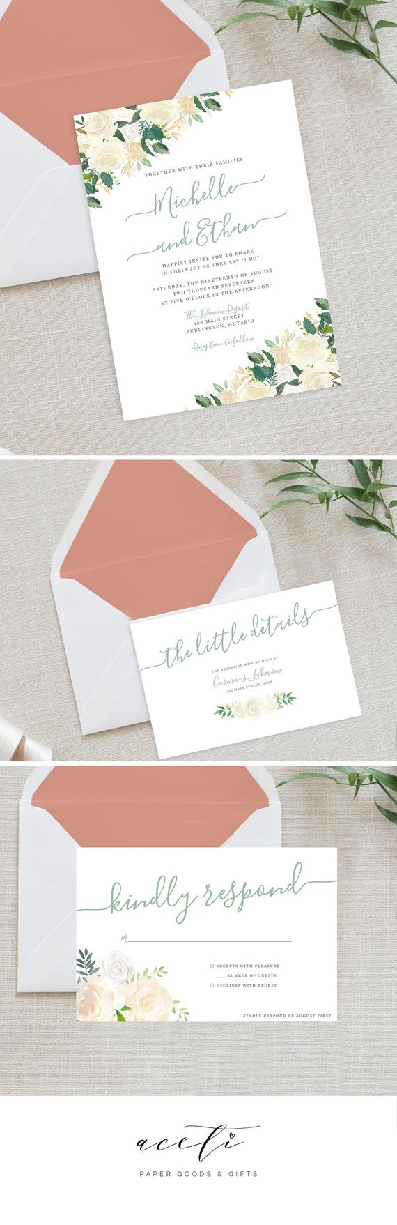 White Vintage Floral Wedding Invitation Greenery Wedding