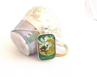 vintage postage stamp necklace, flower pendant, Liechtenstein 1970 vintage stamp jewelry